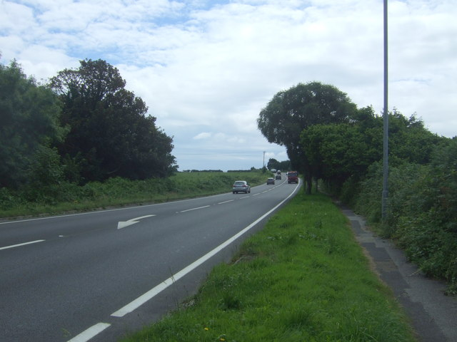 Looking south west on the A30 near Crowlas