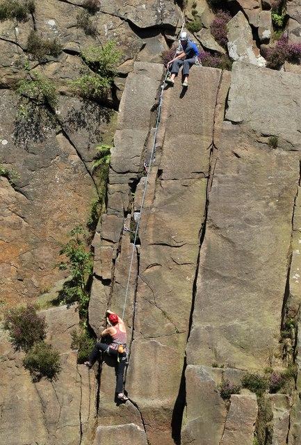 Rock climbers on Millstone Edge