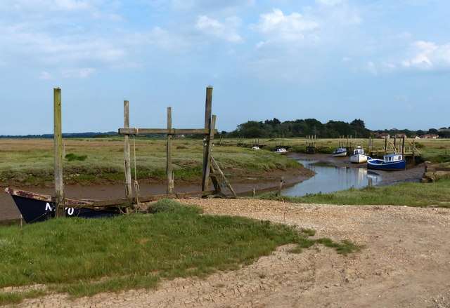 Boats moored at Thornham Creek