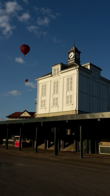 Balloons over the clock tower