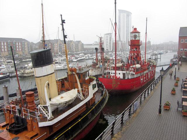 Historic ships in Swansea Marina