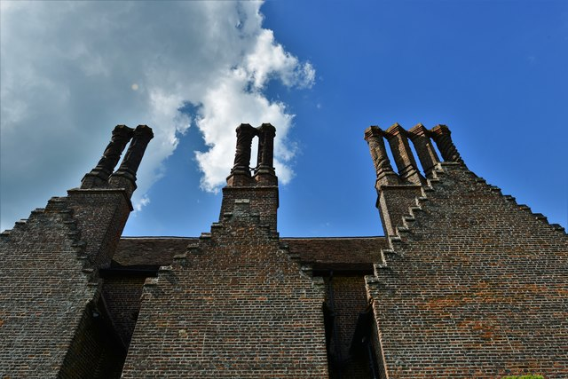 Chenies Manor House: The stepped gables and fine chimneys