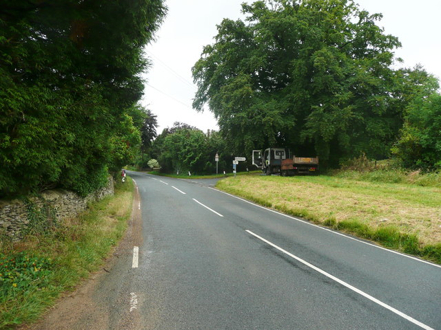 Main Road, Whiteshill, at the junction with the lane to Randwick