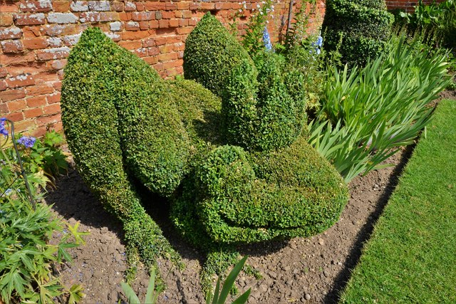 Helmingham Hall: The Topiary Border, king frog