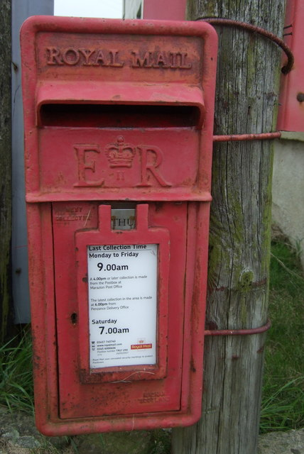 Close up, Elizabeth II postbox and on Trevenner Square, Marazion