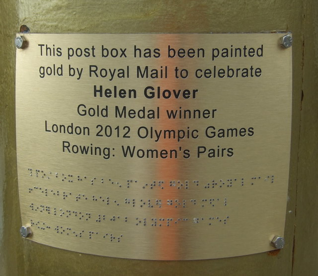 Plaque on Golden George VI postbox on Quay Street, Penzance