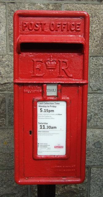 Close up, Elizabeth II postbox outside Penzance Railway Station