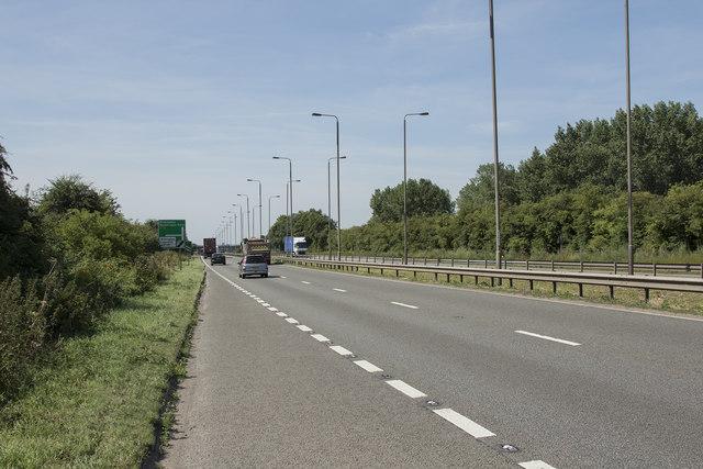 The A38 towards Burton