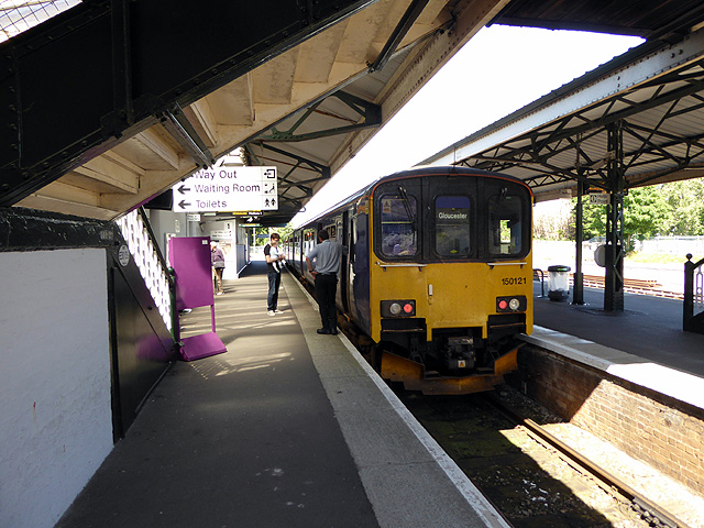 A train for Gloucester at Yeovil Pen Mill station