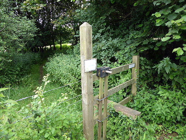 Stile and footpath into a coppice near Clifton Maybank
