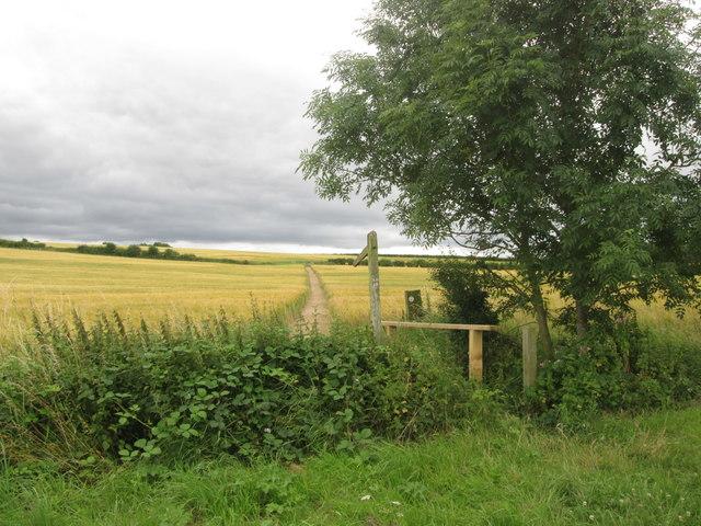 Footpath towards Leyfields Farm