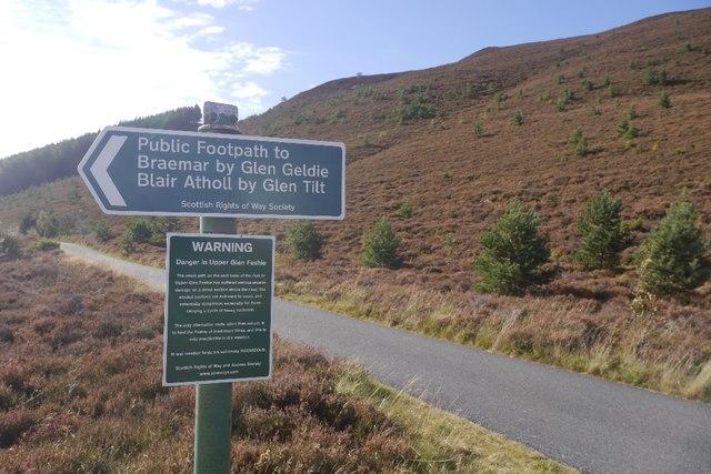 Scottish Rights of Way Society sign, Glen Feshie