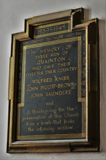 Quainton, Holy Cross and St. Mary Church: World War Two memorial