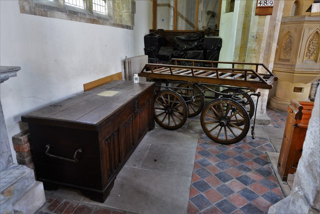 Quainton, Holy Cross and St. Mary Church: Linenfold patterned chest and bier