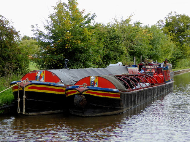 Working boat with butty near Marbury, Cheshire