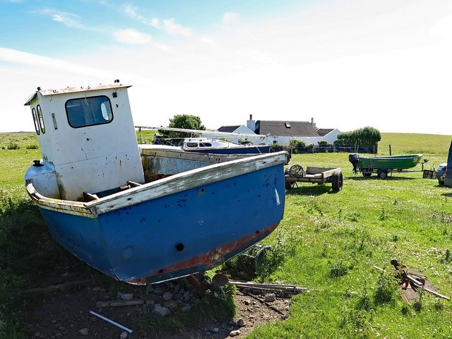Small boats and trailers, Vaul, Tiree