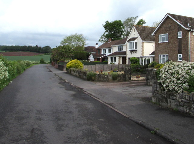 Houses at the northwest end of Grove Road, Lydney