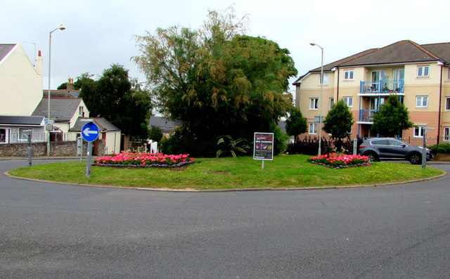 Flowers on an Exmouth roundabout