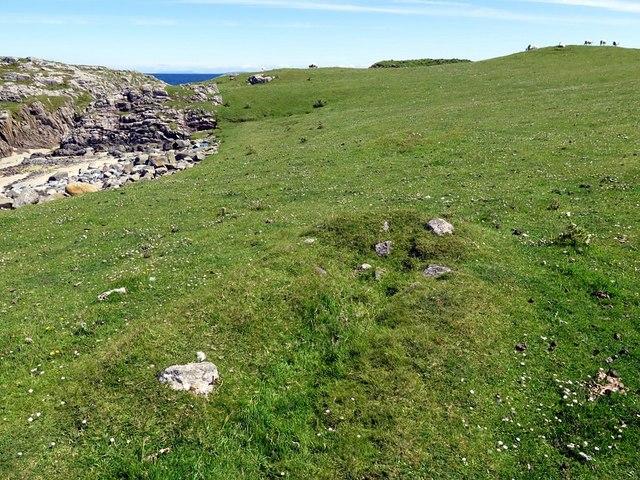 Remains of kelp-burning kiln near Dun Beag, Tiree