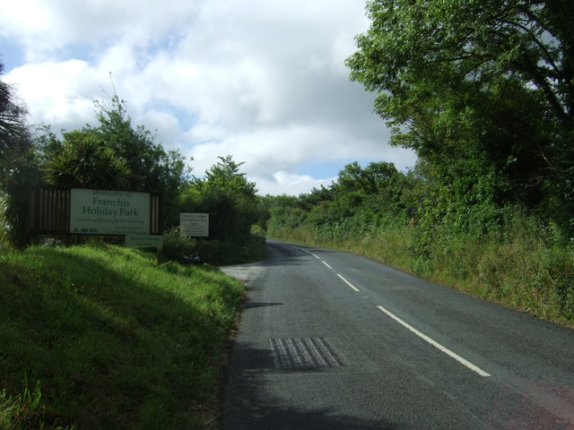 A3083 outside Franchis Holiday Park
