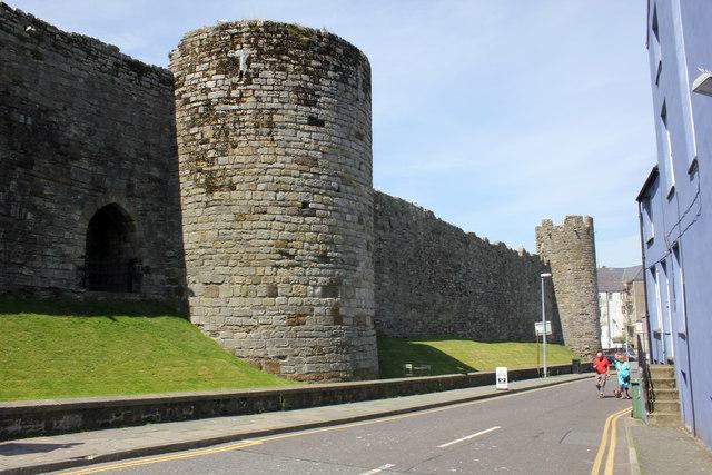 Caernarfon City Walls along Greengate Street