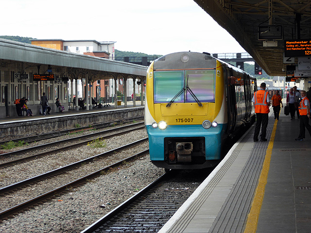 An Arriva train for Manchester at Cardiff