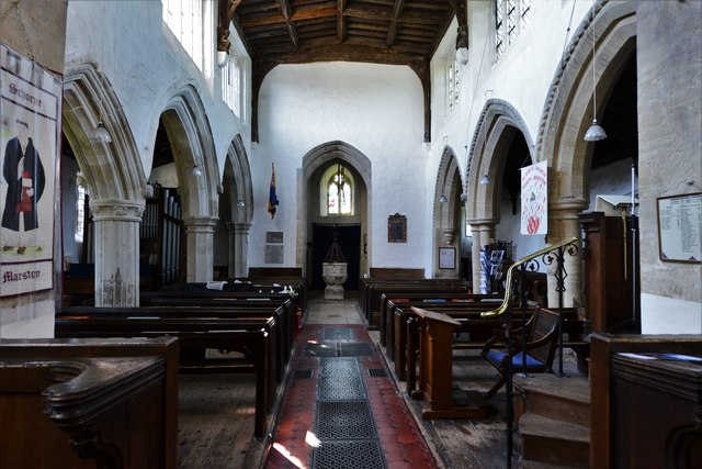 North Marston, St. Mary's Church: The nave from the chancel arch