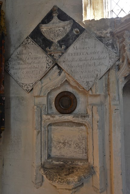 North Marston, St. Mary's Church: Memorials on the south chancel wall