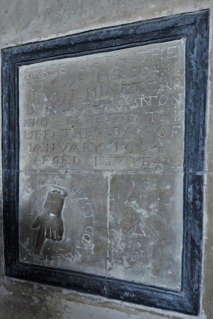 North Marston, St. Mary's Church: Curious John Virgin memorial