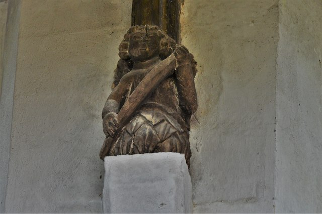 North Marston, St. Mary's Church: Wooden roof corbel 1