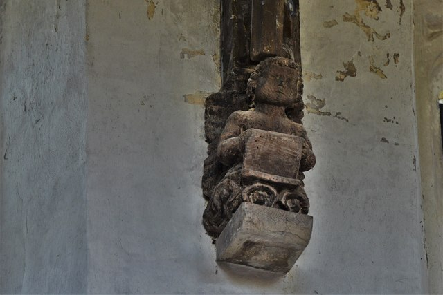 North Marston, St. Mary's Church: Wooden roof corbel 2
