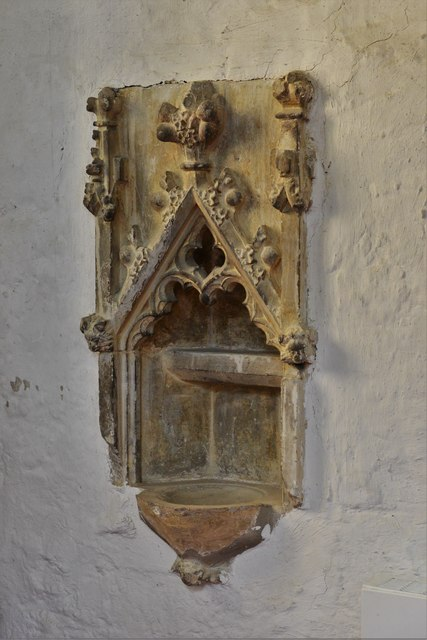 North Marston, St. Mary's Church: Shrine of John Schorne (d.1314) 1, piscina