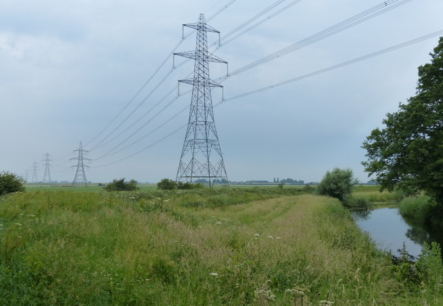 Power lines near the River Nar