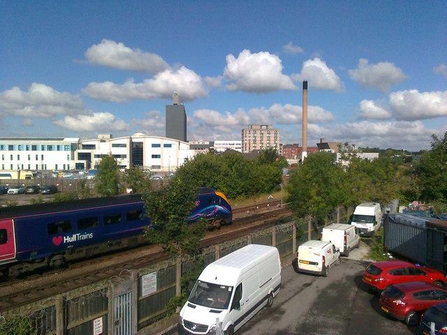 Railway line beside Hull Royal Infirmary
