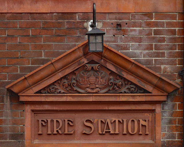 Old fire station sign in terra cotta, Salisbury