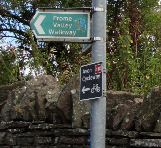 Frome Valley Walkway and Avon Cycleway direction signs, Nibley, South Gloucestershire