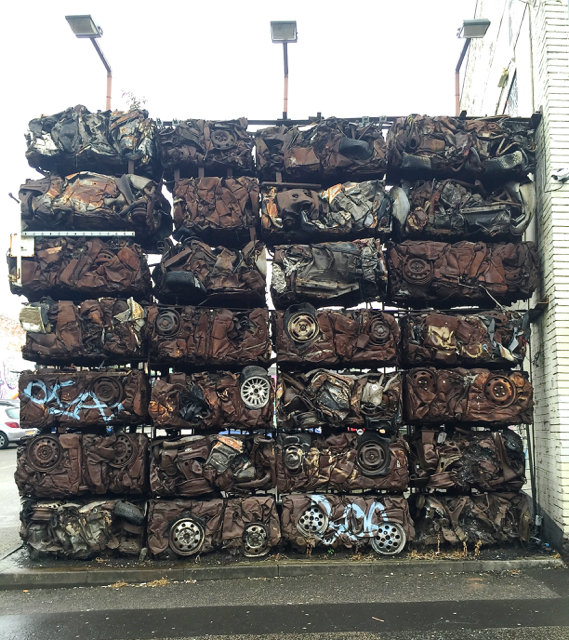 Wall of crushed cars, Heath Mill Lane car park, Deritend, Birmingham