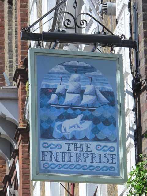 Sign for The Enterprise, Red Lion Street, WC1