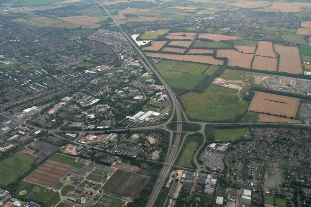 A10-A14 junction north of Cambridge: aerial 2017