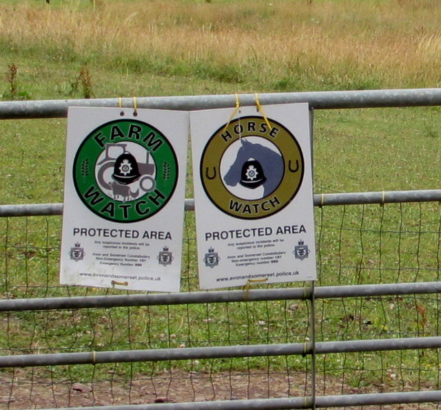 Farm Watch and Horse Watch Protected Area notices near Nibley Lane, South Gloucestershire