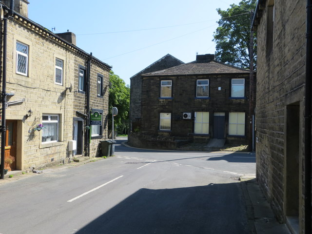 Chapel Lane at its junction with High Street and Barrows Lane in Steeton