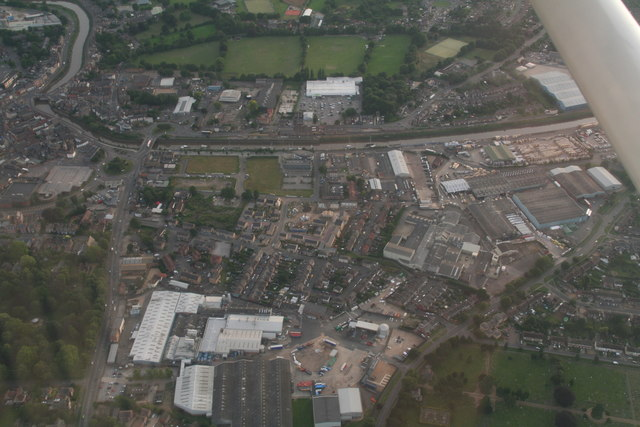 Wisbech north, marina and industry: aerial 2017