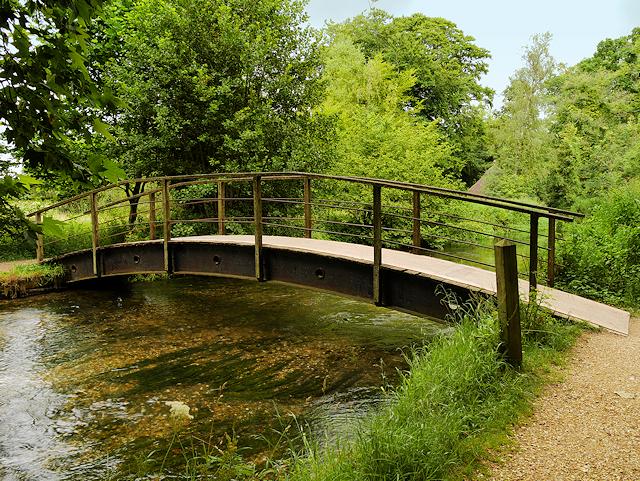 Footbridge over the River Test in Mottisfont Abbey Gardens