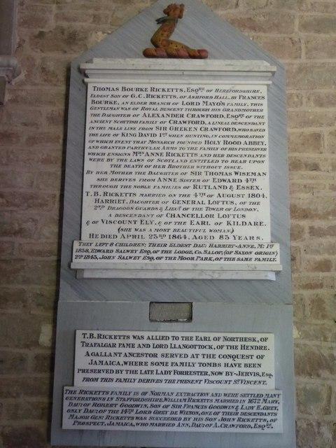 A Ricketts family memorial
