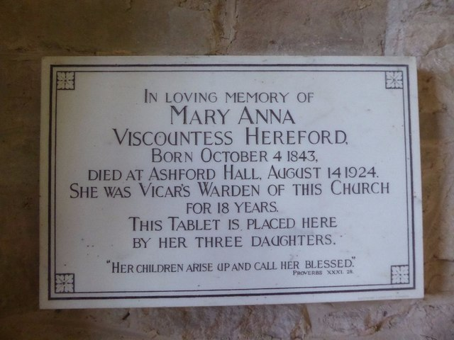 Memorial to Mary Anna Viscountess of Hereford