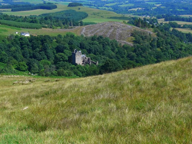 Eastern slopes of King's Seat Hill, with Castle Campbell in the distance