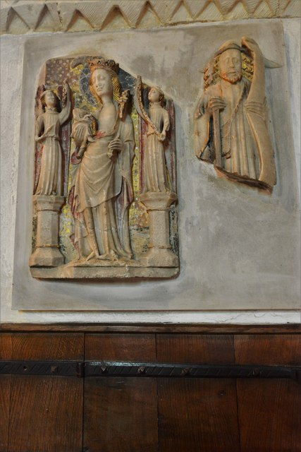 Stewkley, St. Michael's Church: c15th alabaster Madonna and Child
