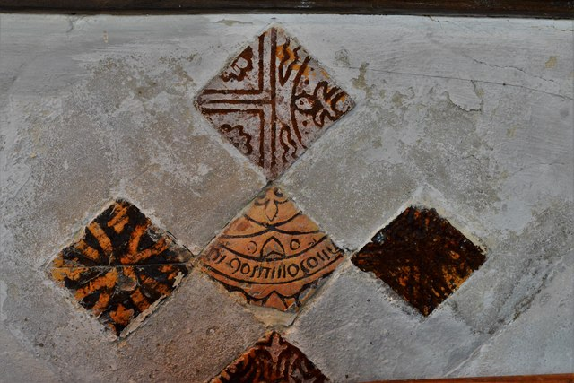 Stewkley, St. Michael's Church: Five medieval tiles found buried in the sanctuary floor