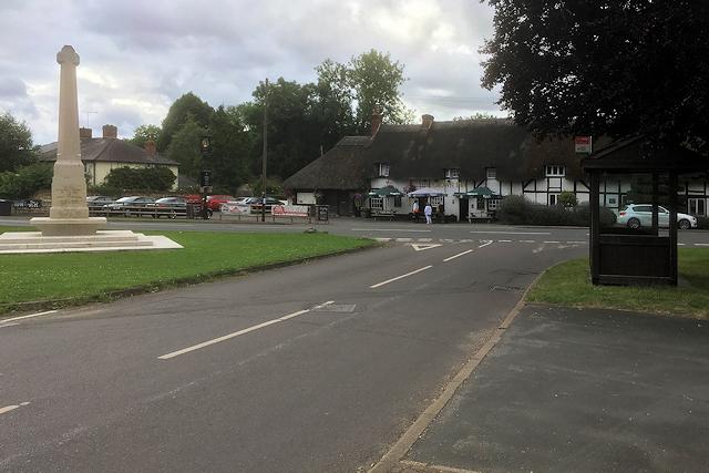 King's Somborne War Memorial and the Crown Inn