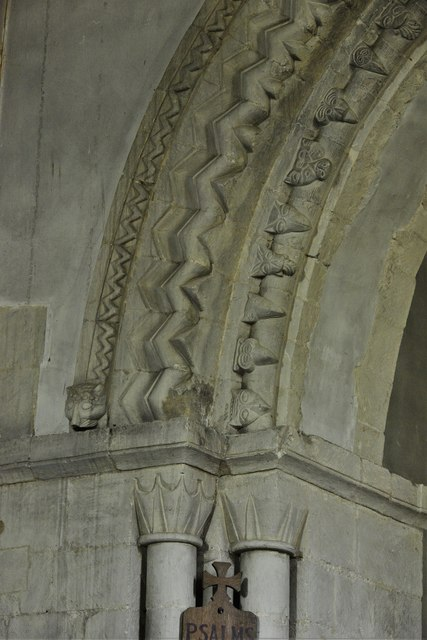 Stewkley, St. Michael's Church: West tower arch beakheads 1